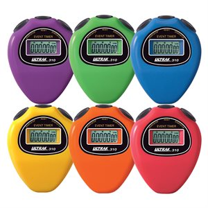 6 stopwatches in rainbow colors