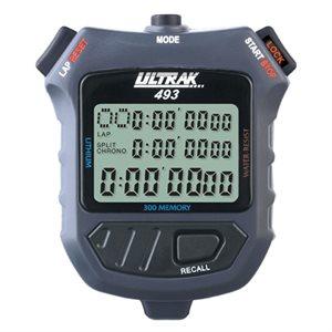 Stopwatch, 300 lap memory, 3 line display