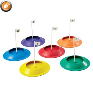 6 numbered golf putting cups