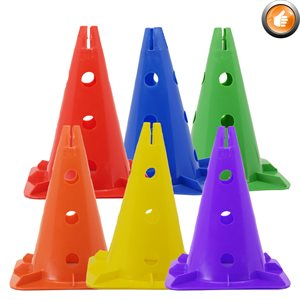 6 hard plastic cones with holed sides