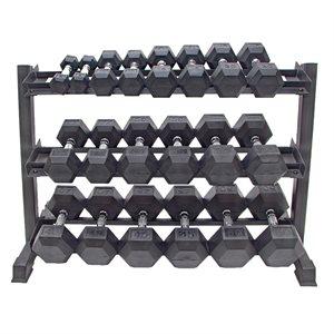 "3-Tier hexagonal dumbbell rack, 45"""