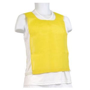 Cotton pinnie, elastic and velcro, yellow