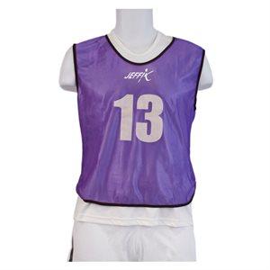 15 numbered pinnies, purple