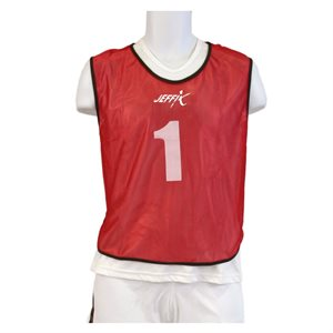 15 numbered pinnies, red